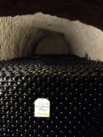 Bottles upon bottles of Comte de Champagne in the Taittinger caves.