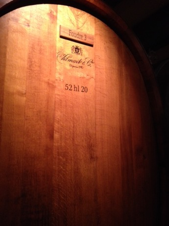 I did snap this nice picture of a large wooden foudre in the cask room at Vilmart & Cie.